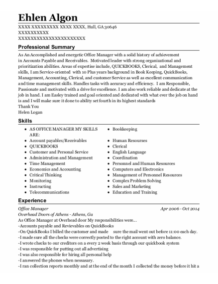 Office Manager resume sample Georgia