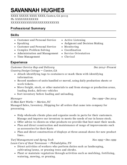 Customer Service Rep and Delivery resume example Georgia