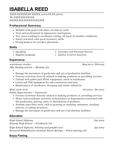 warehouse stocker resume template Georgia