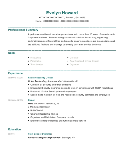 Facility Security Officer resume example Georgia