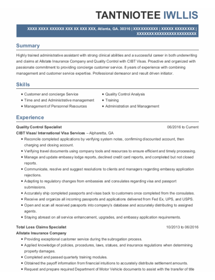 Best Quality Control Specialist Resumes