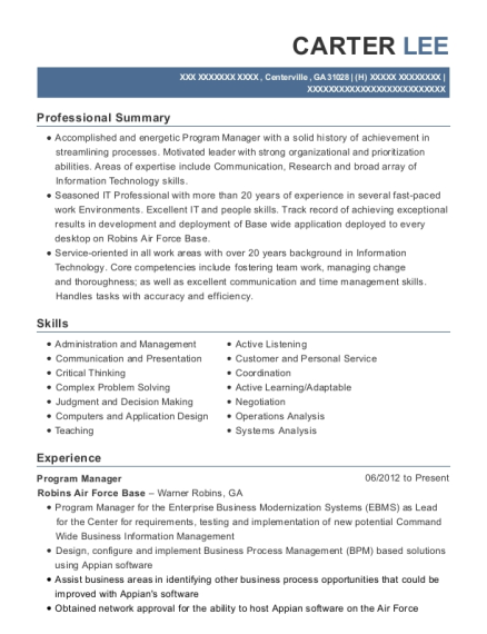 Program Manager resume example Georgia