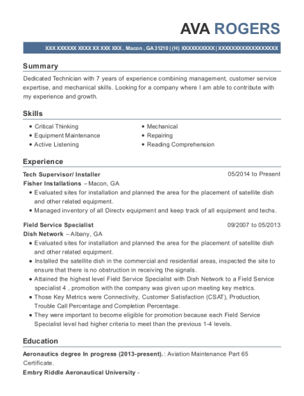 Tech Supervisor resume example Georgia