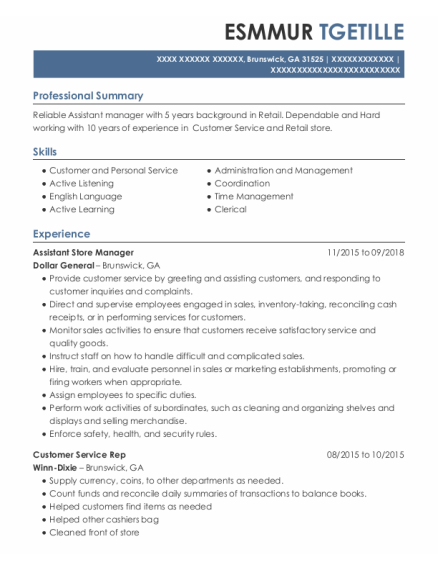 Customer Service Rep resume format Georgia