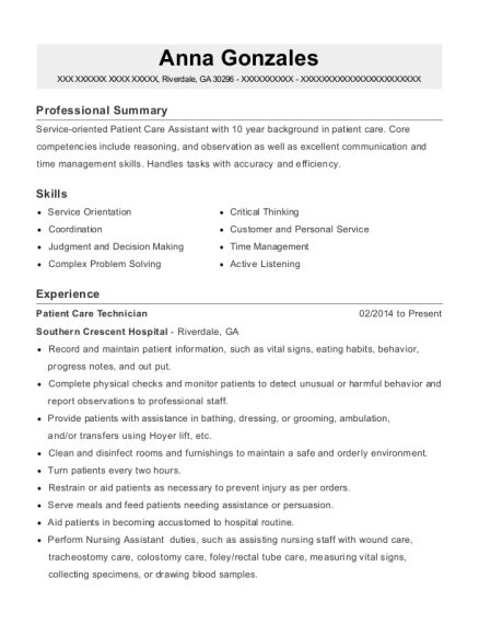 Patient Care Technician resume example Georgia