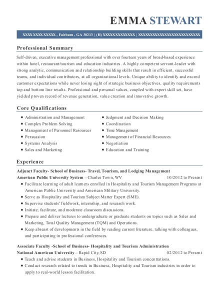 Adjunct Faculty School of Business Travel resume template Georgia