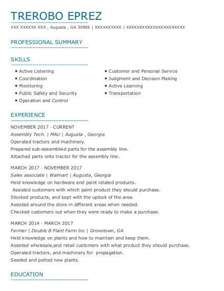 Assembly Tech resume example Georgia