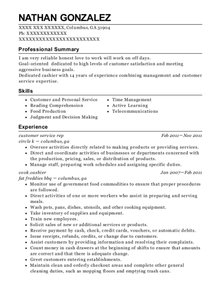customer service rep resume sample Georgia