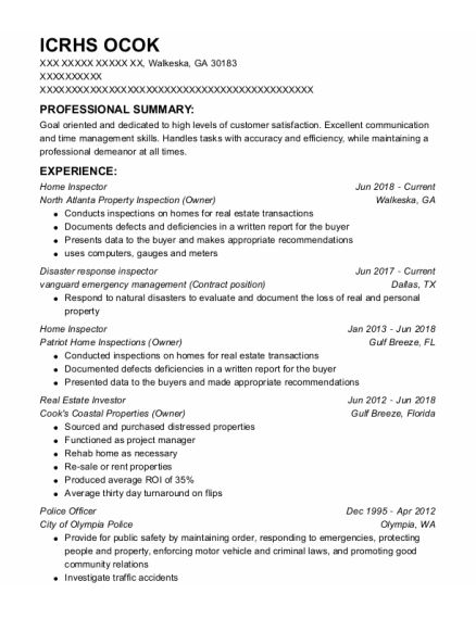 Home Inspector resume example Georgia