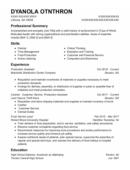 Production Assistant resume example Georgia
