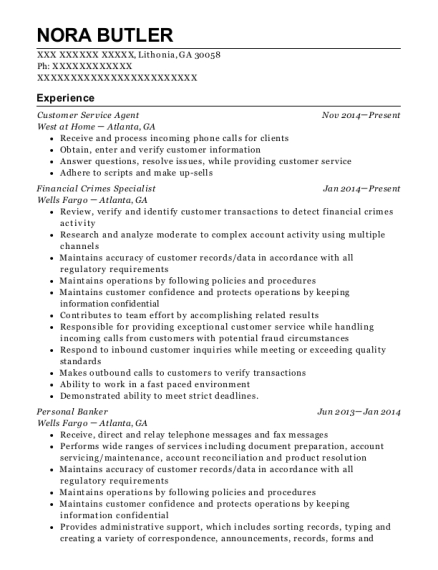 Customer Service Agent resume sample Georgia