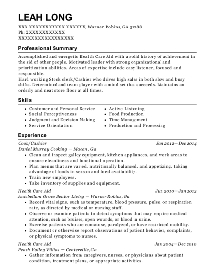 Cook resume example Georgia
