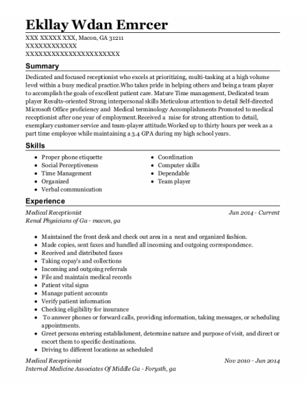 Medical Receptionist resume example Georgia