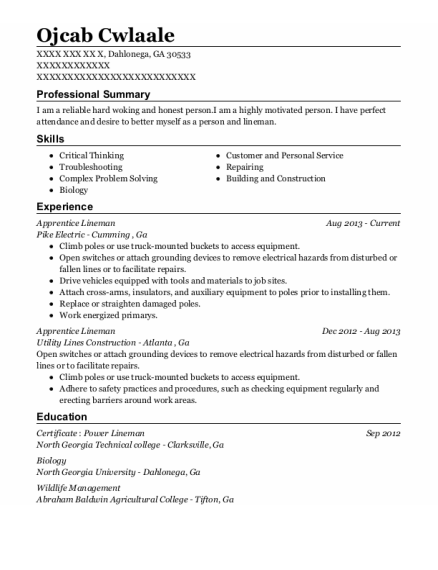 Apprentice Lineman resume sample Georgia