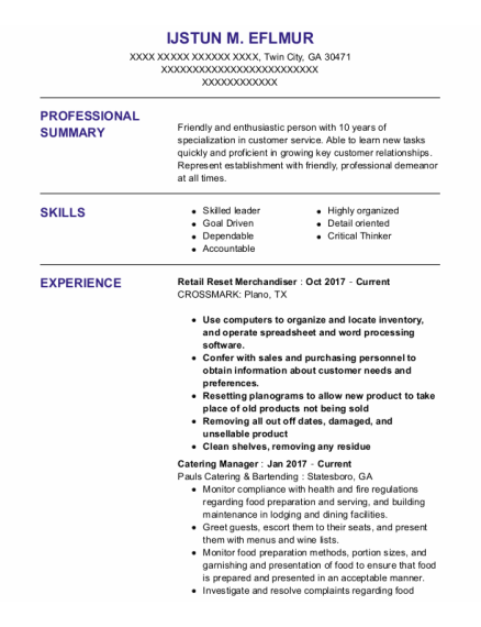 Catering Manager resume template Georgia