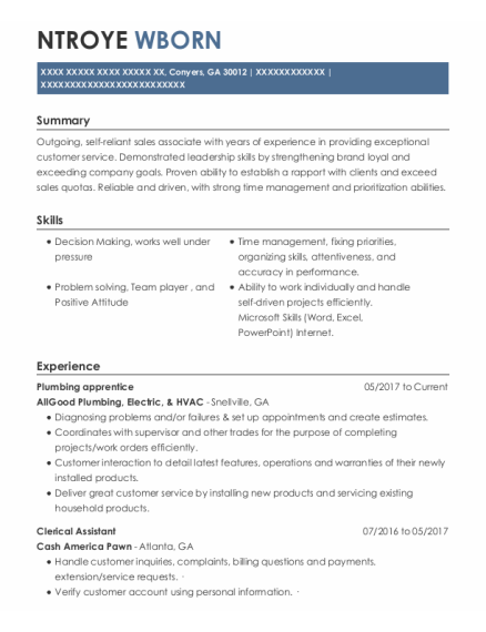 Plumbing Apprentice resume example Georgia
