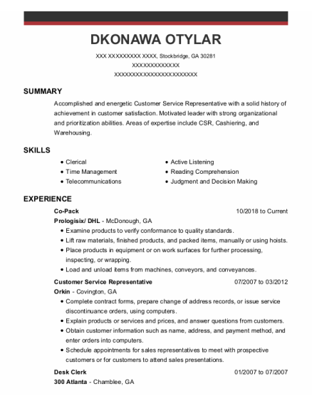 Customer Service Representative resume format Georgia