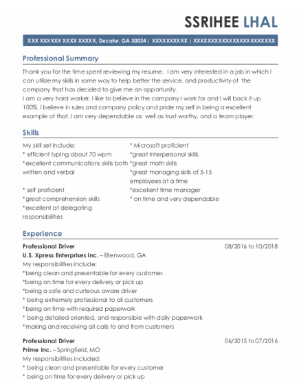 Professional Driver resume sample Georgia