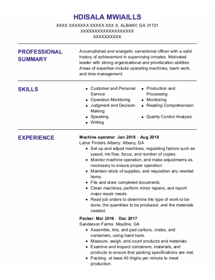 Machine Operator resume format Georgia