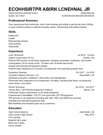 Lube Technician resume sample Georgia