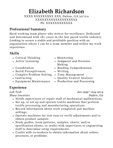 Lab Tech resume example Georgia