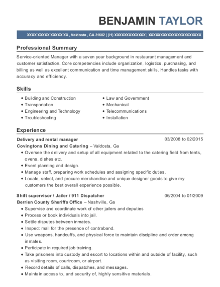 Delivery and rental manager resume sample Georgia