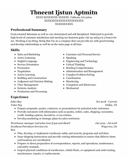 Sales Rep resume format Georgia