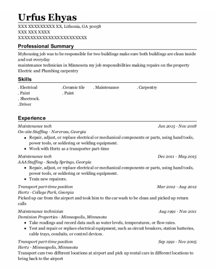 Maintenance Tech resume example Georgia
