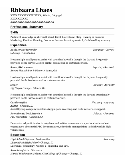 Server resume example Georgia