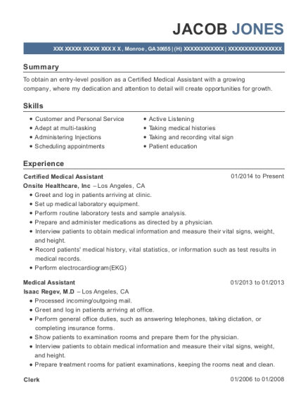 Certified Medical Assistant resume template Georgia