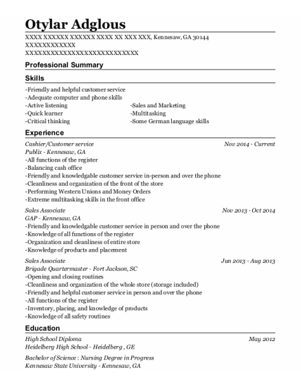 Cashier resume template Georgia