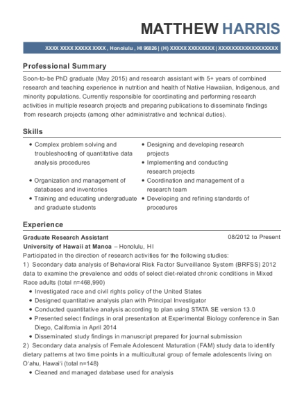 Graduate Research Assistant resume format Hawaii