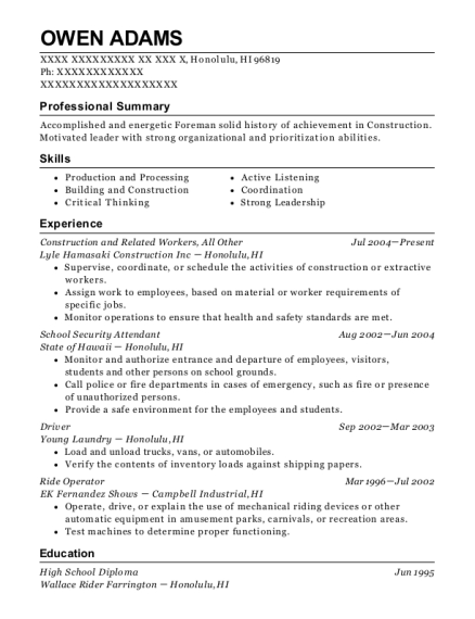 Construction and Related Workers resume template Hawaii