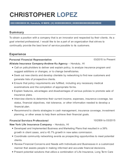 Personal Financial Representative resume sample Hawaii