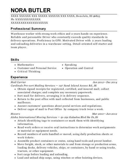 Mail Carrier resume template Hawaii