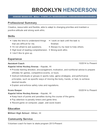 Assistant Coach resume format Hawaii