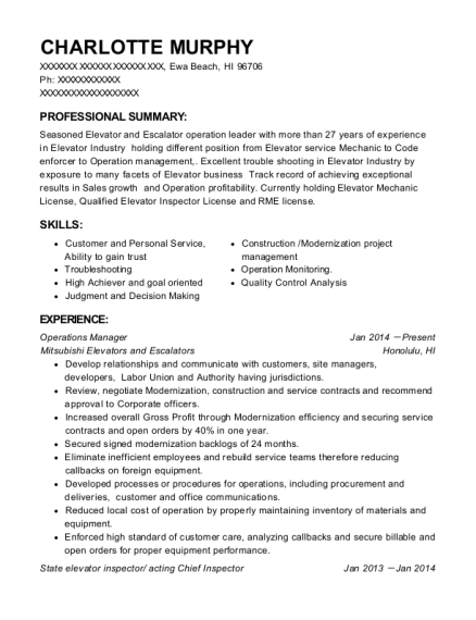 Operations Manager resume example Hawaii