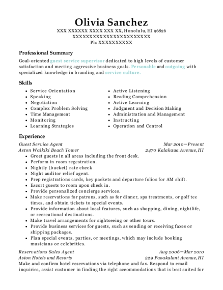 Guest Service Agent resume sample Hawaii