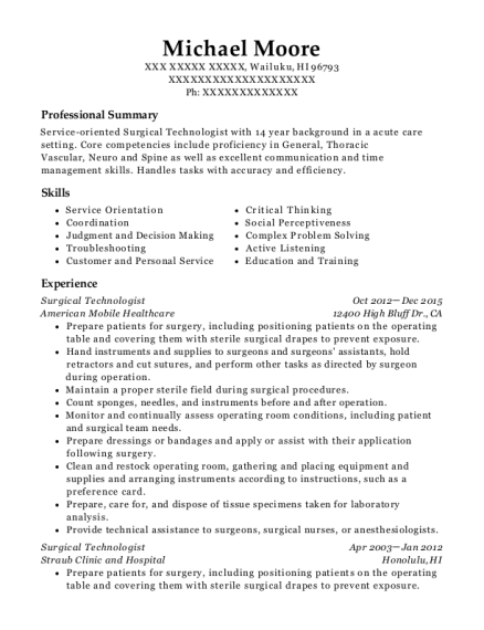 Surgical Technologist resume sample Hawaii
