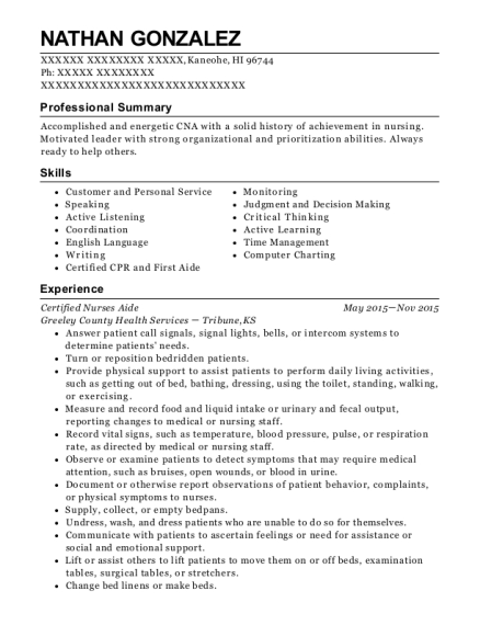 Certified Nurses Aide resume template Hawaii