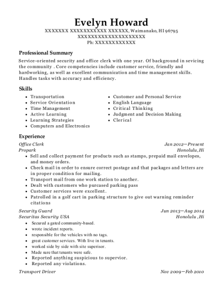 Office Clerk resume template Hawaii