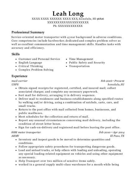 mail carrier resume example Hawaii
