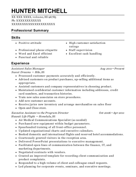 Assistant Sales Manager resume format Hawaii
