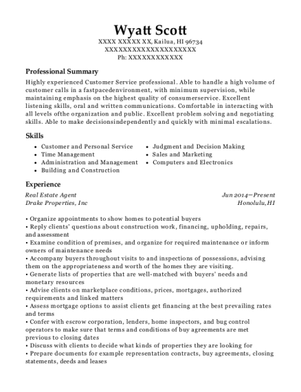 Real Estate Agent resume template Hawaii