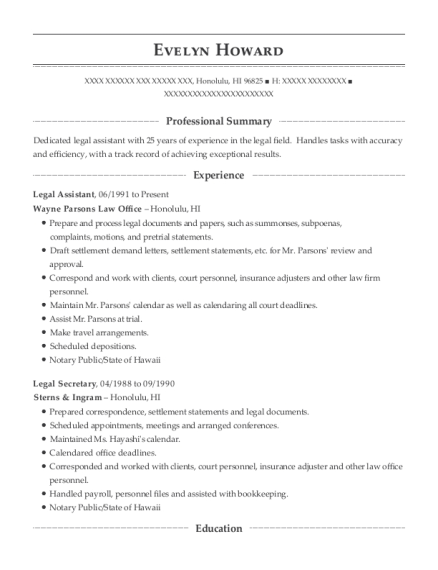 Legal Assistant resume sample Hawaii