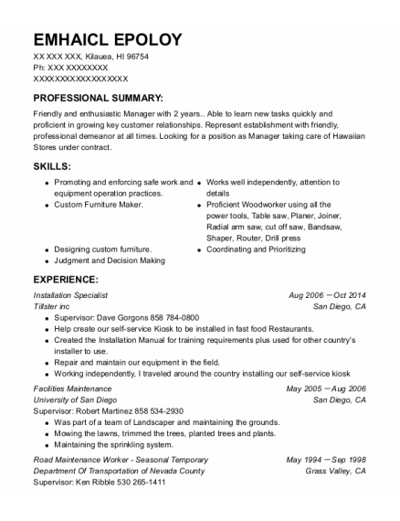 Installation Specialist resume template Hawaii