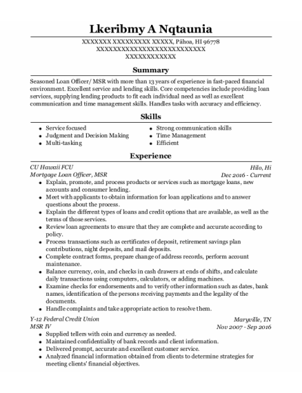 Mortgage Loan Officer resume sample Hawaii