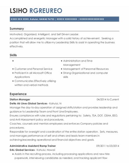 Station Manager resume template HAWAII