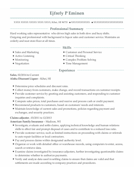 Sales resume format Hawaii