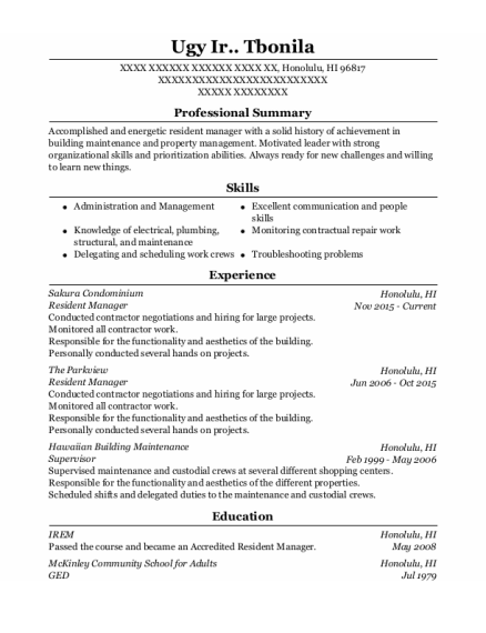 Resident Manager resume sample Hawaii